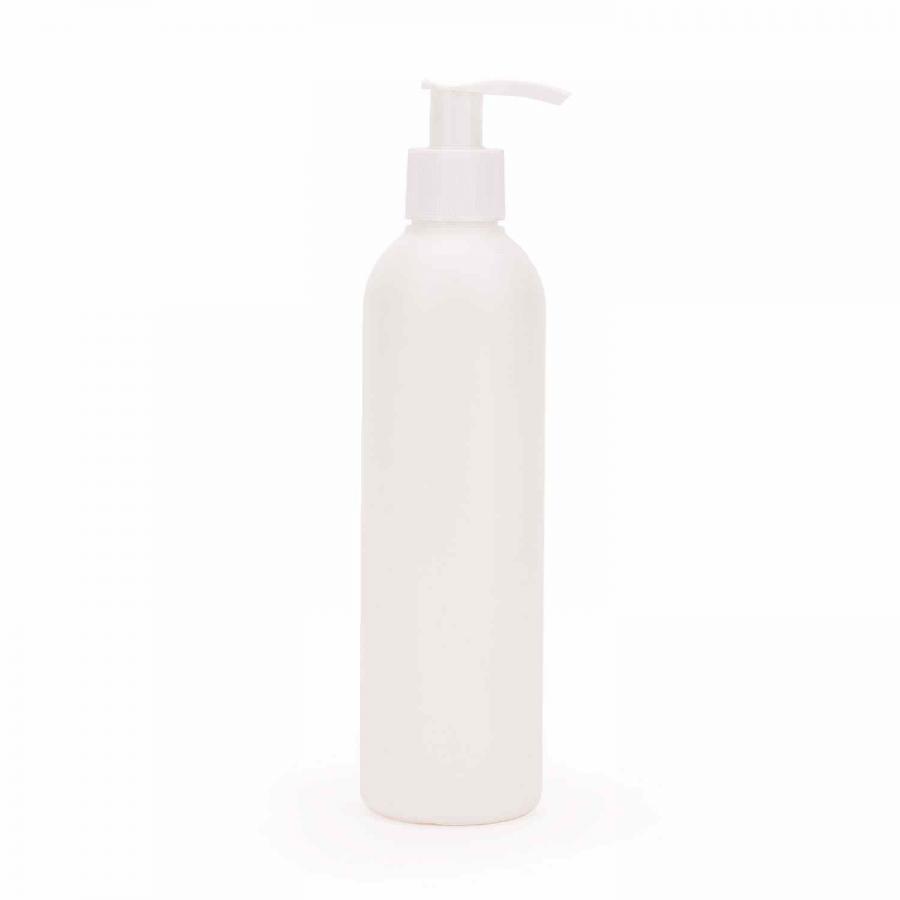 Kunststoff-Rundflasche m. Dosierpumpe, weiß (lichtgeschützt)