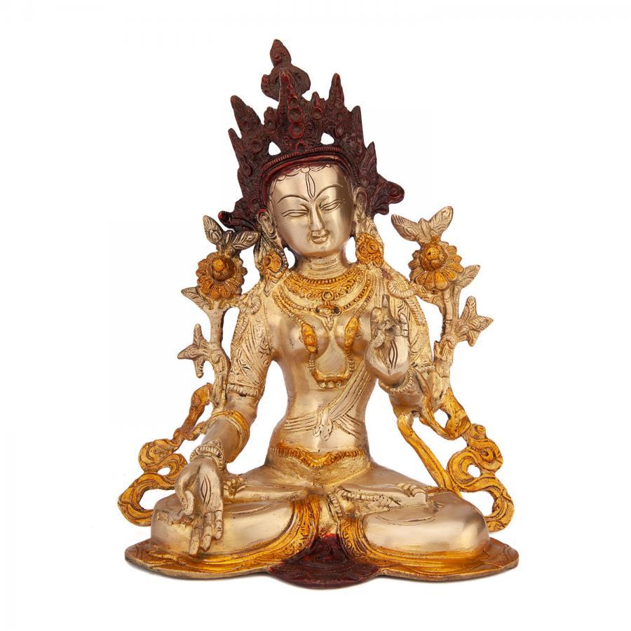 Golden Tara brass Statue, approx. 23 cm