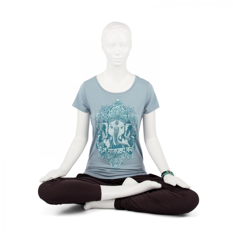 Bodhi Yoga Shirt Damen - GANESHA, vintage blue S