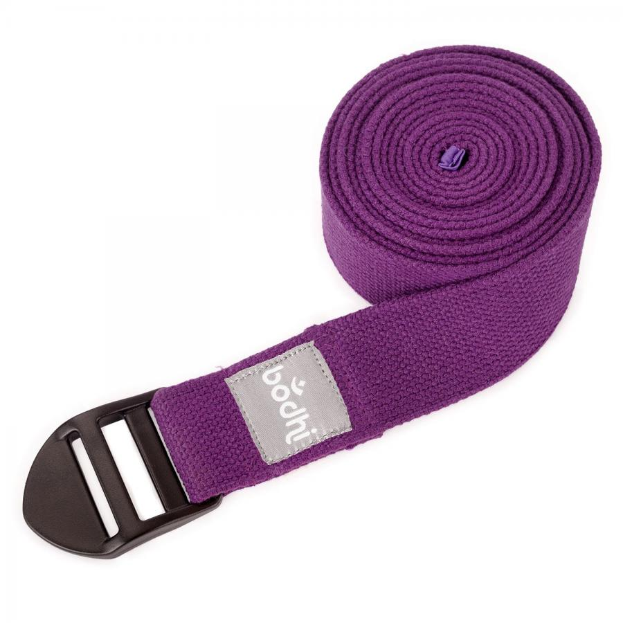 Yoga strap ASANA BELT, with plastic buckle purple