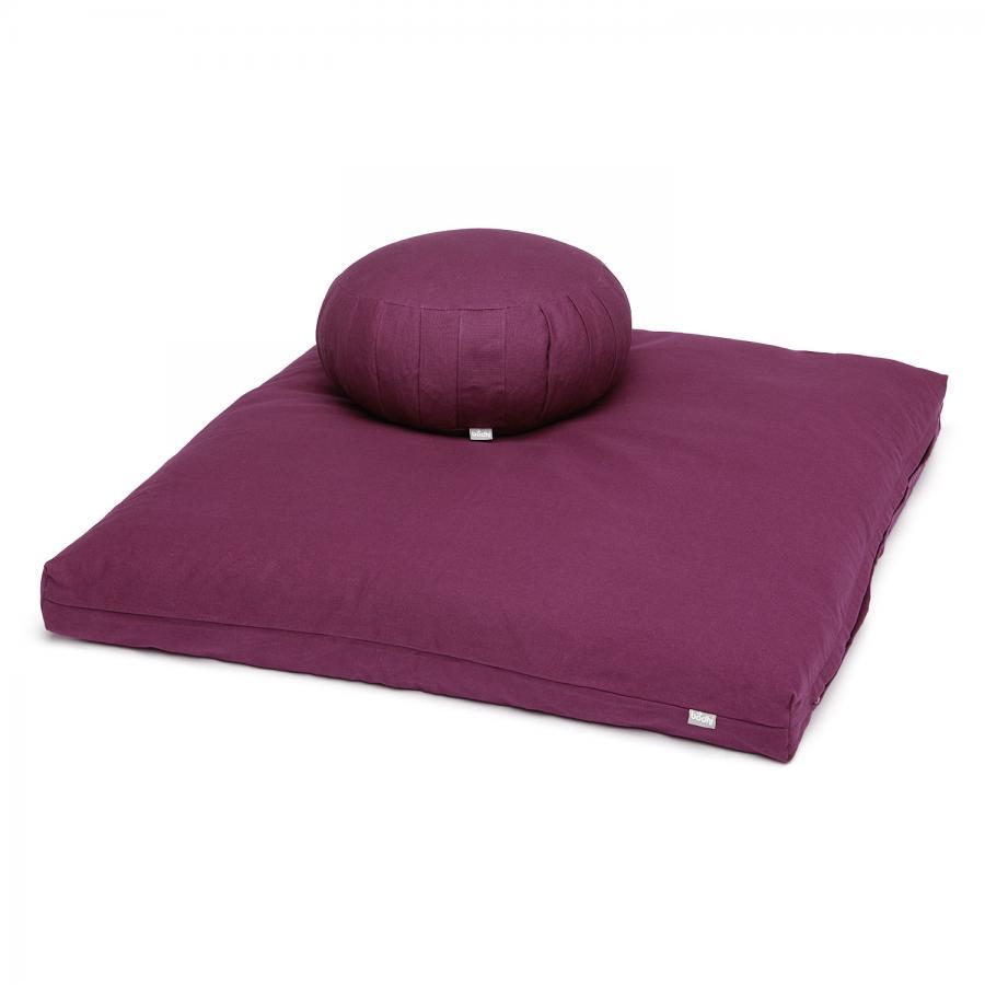 Meditations-Set BASIC I: Meditationskissen + Zabuton Zafu | aubergine | Dinkel